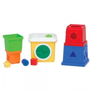 Melissa & Doug K's Kids Stacking Blocks Set With Sorting Shapes