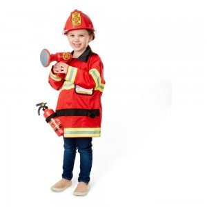 Melissa & Doug Fire Chief Role Play Costume Dress-Up Set (6pc), Adult Unisex, Size: Small, Red
